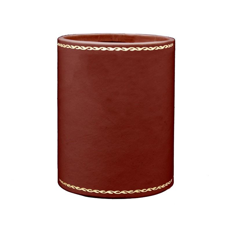 Portapenne in pelle rosso fragola - Conti Borbone - porta penne in pelle di vitello rosso fragola decorazione oro 90