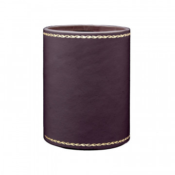 Aubergine leather pen holder - Conti Borbone - Pen holder in violet calf leather decoration 90