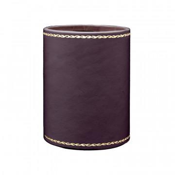 Portapenne in pelle Melanzana - Conti Borbone - porta penne in pelle di vitello viola decorazione oro 90