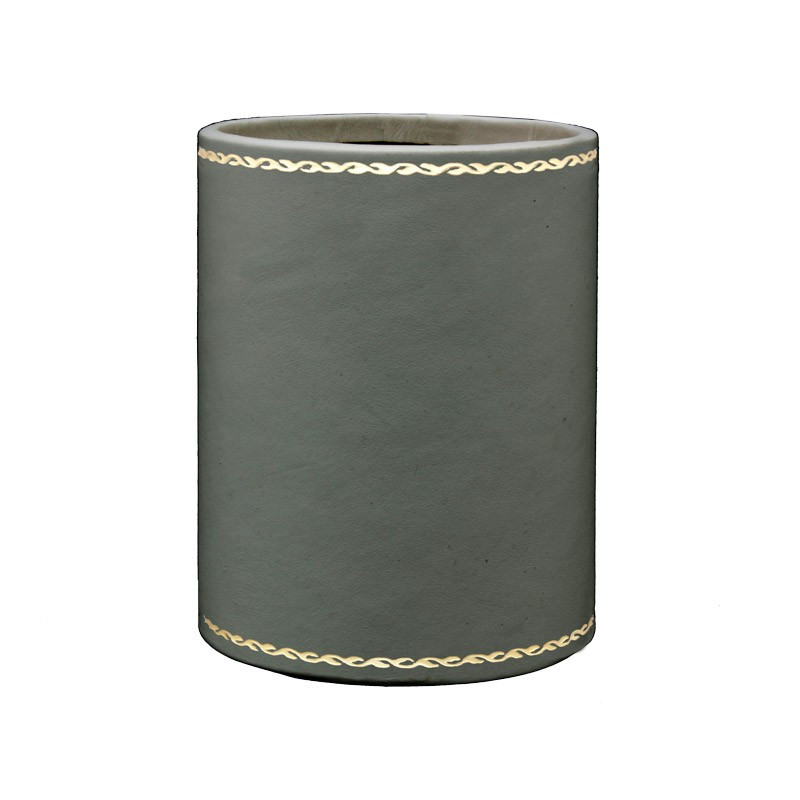 Graphite leather pen holder - Conti Borbone - Pen holder in grey calf leather decoration 90
