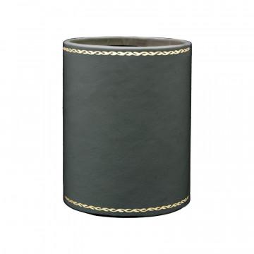 Portapenne in pelle Antracite - Conti Borbone - porta penne in pelle di vitello grigio decorazione 90