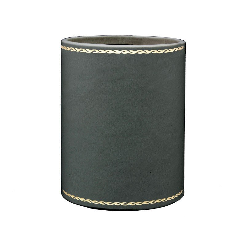 Anthracite leather pen holder - Conti Borbone - Pen holder in grey calf leather gold decoration 90