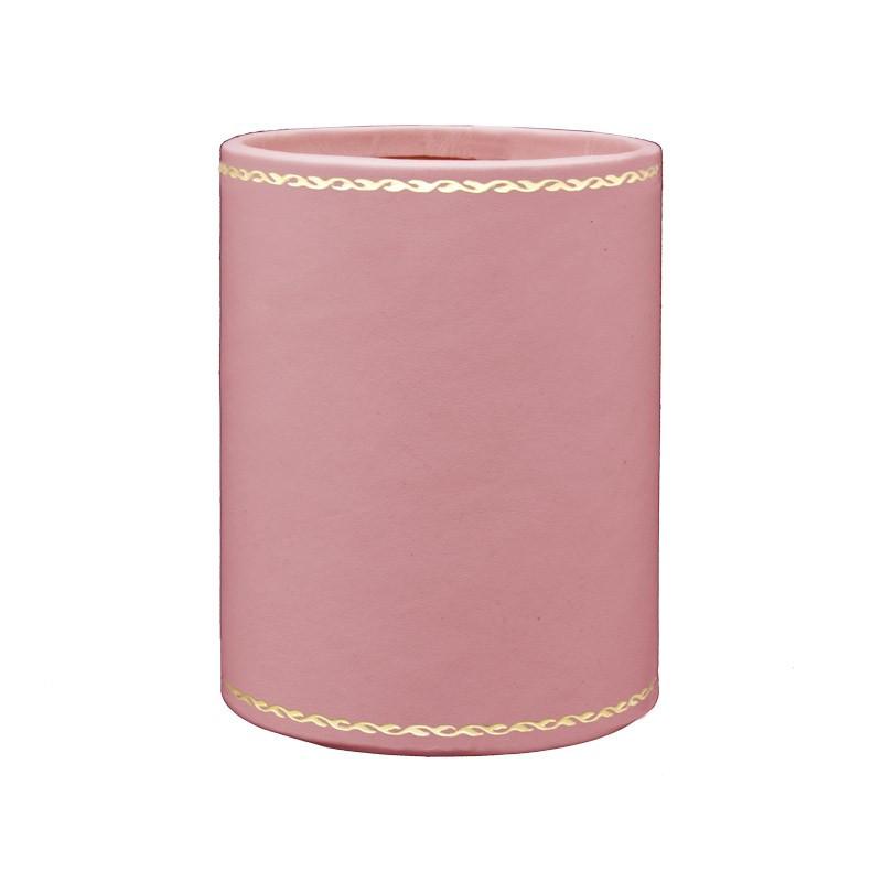 Portapenne in pelle Camelia - Conti Borbone - porta penne in pelle di vitello rosa decorazione oro 90