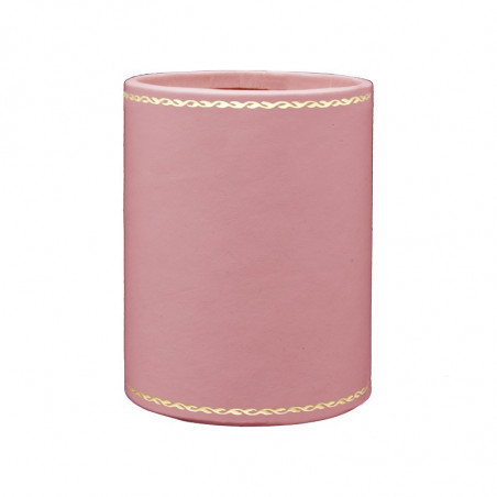 Baby pink leather pen holder - Conti Borbone - Pen holder in pink calf leather gold decoration 90