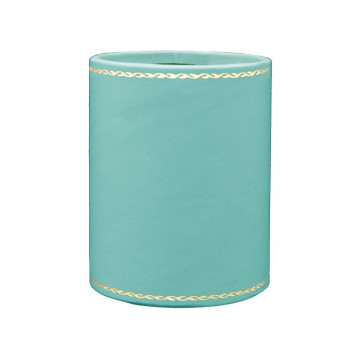 Baby blue leather pen holder - Conti Borbone - Pen holder in blue calf leather gold decoration 90