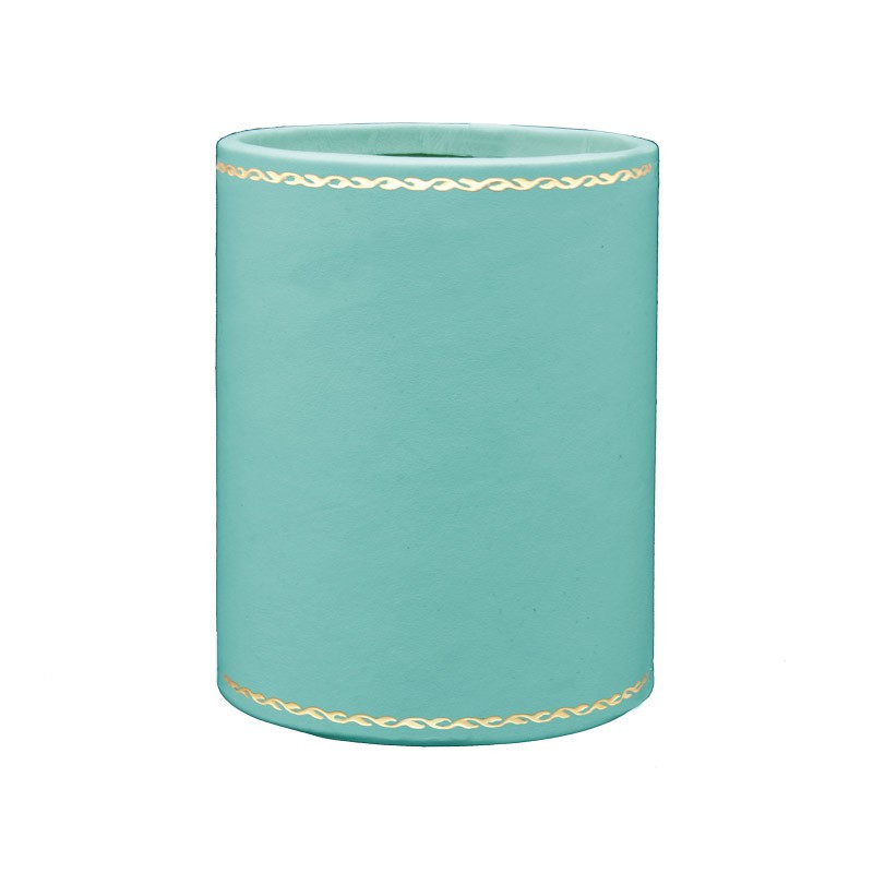 Turquoise leather pen holder - Conti Borbone - Pen holder in blue calf leather gold decoration 90