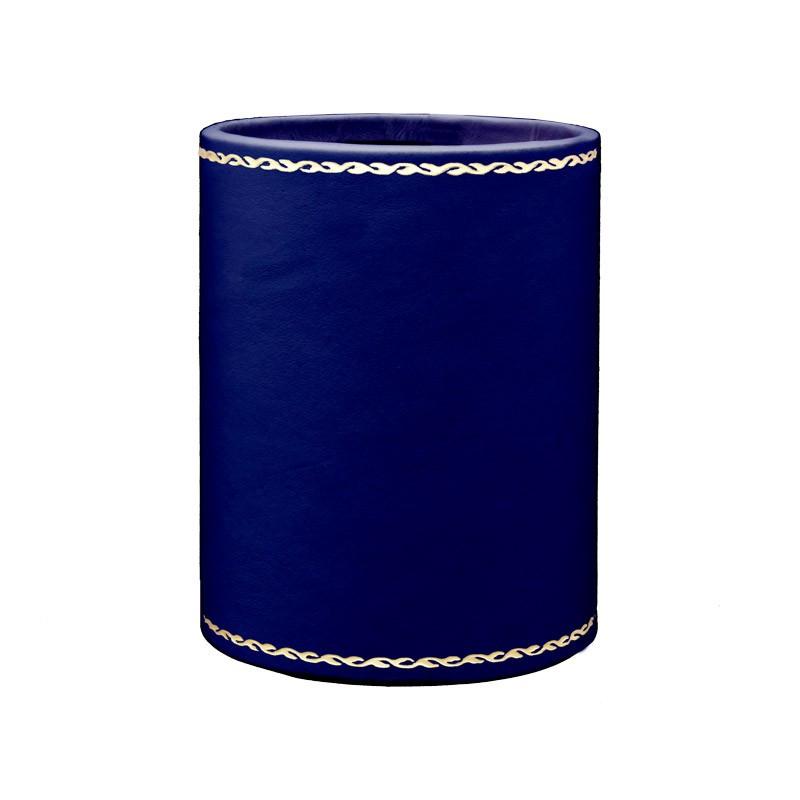 Bluette leather pen holder - Conti Borbone - Pen holder in blue calf leather gold decoration 90