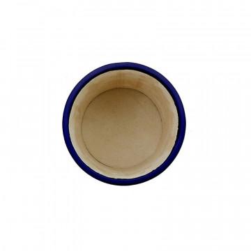 Bluette leather pen holder - Conti Borbone - Pen holder in blue calf leather high