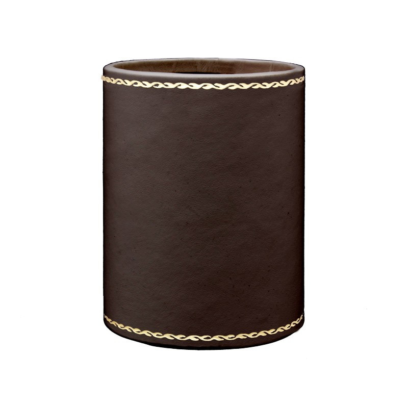 Chocolate leather pen holder - Conti Borbone - Pen holder in brown calf leather gold decoration 90