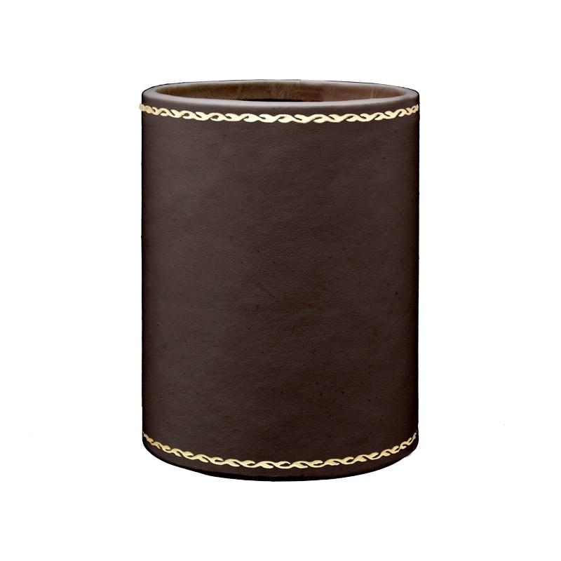 Portapenne in pelle Cioccolato - Conti Borbone - porta penne in pelle di vitello marrone decorazione in oro 90