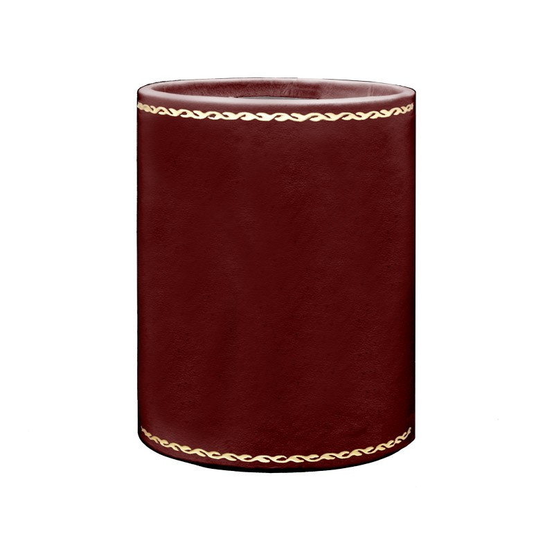 Ruby leather pen holder - Conti Borbone - Pen holder in burgundy calf leather, gold print 90