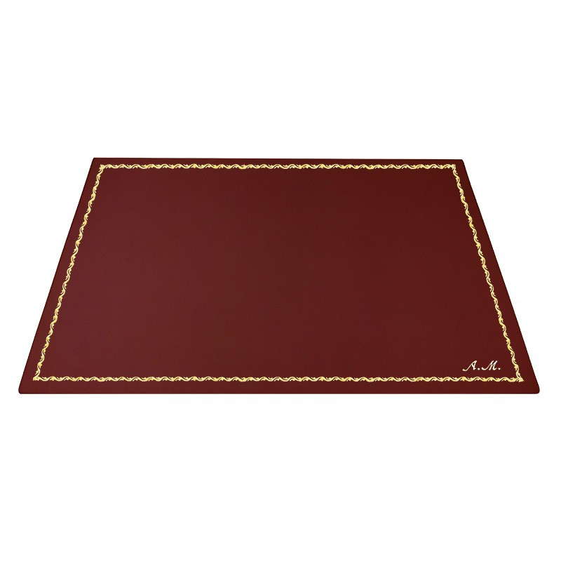 Ruby leather desk pad, burgundy calf leather - Conti Borbone - Customizable mat - Front - 90 decoration - italic