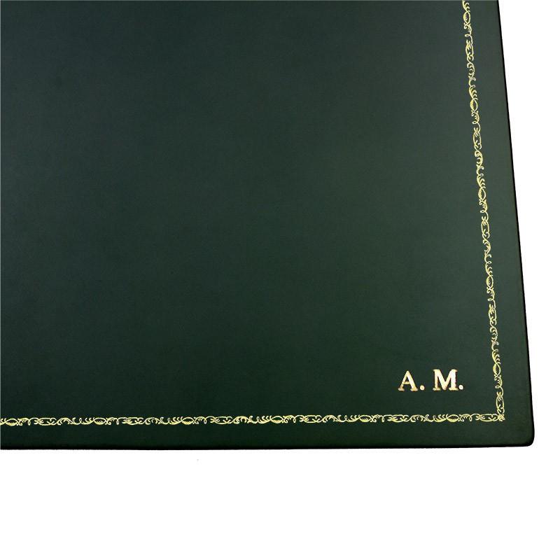 Pino leather desk pad, Green calf leather - Conti Borbone - Customizable mat - 106 decoration - block letters
