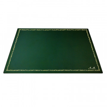 Pino leather desk pad, Green calf leather - Conti Borbone - Customizable mat - 106 decoration - italic