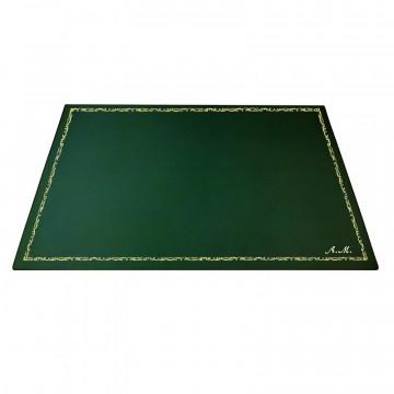 Pino leather desk pad, Green calf leather - Conti Borbone - Customizable mat - 106 decoration - italic