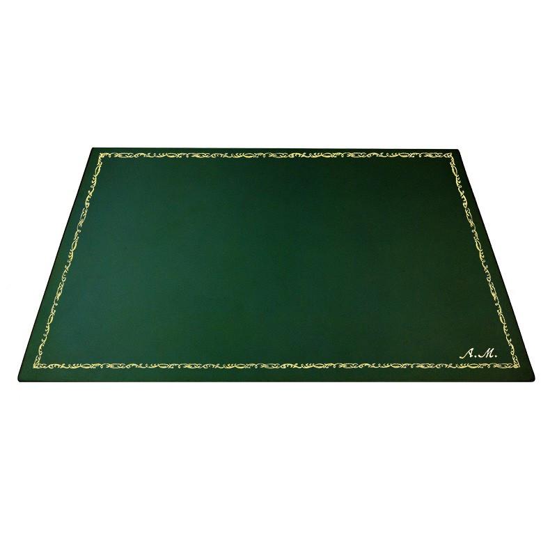 Sottomano pelle Pino, pelle di vitello verde - Conti Borbone - Tappetino personalizzabile - decorazione 106 - corsivo