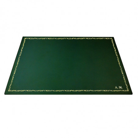 Pino leather desk pad, Green calf leather - Conti Borbone - Customizable mat - 106 decoration - block letters