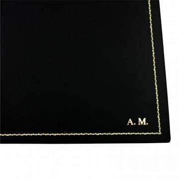 Dark leather desk pad, black calf leather - Conti Borbone - Customizable mat - 90  decoration- block letters
