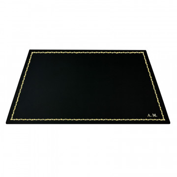 Dark leather desk pad, black calf leather - Conti Borbone - Customizable mat - 90  decoration - block letters