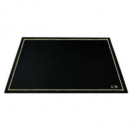 Dark leather desk pad, black calf leather - Conti Borbone - Customizable mat - 90  decoration - block letters