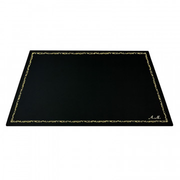 Dark leather desk pad, black calf leather - Conti Borbone - Customizable mat - 106  decoration - italic