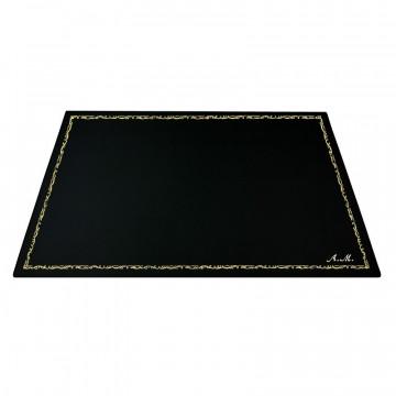 Dark leather desk pad, black calf leather - Conti Borbone - Customizable mat - 106  decoration - italic