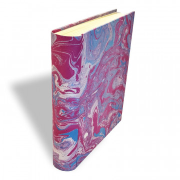 Photo album in marbled paper violet blue white Aurora - Conti Borbone - spine standard