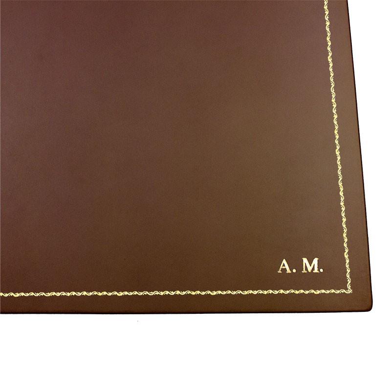 Cuoio leather desk pad, brown calf leather - Conti Borbone - Customizable mat - 90 decoration  - block letters