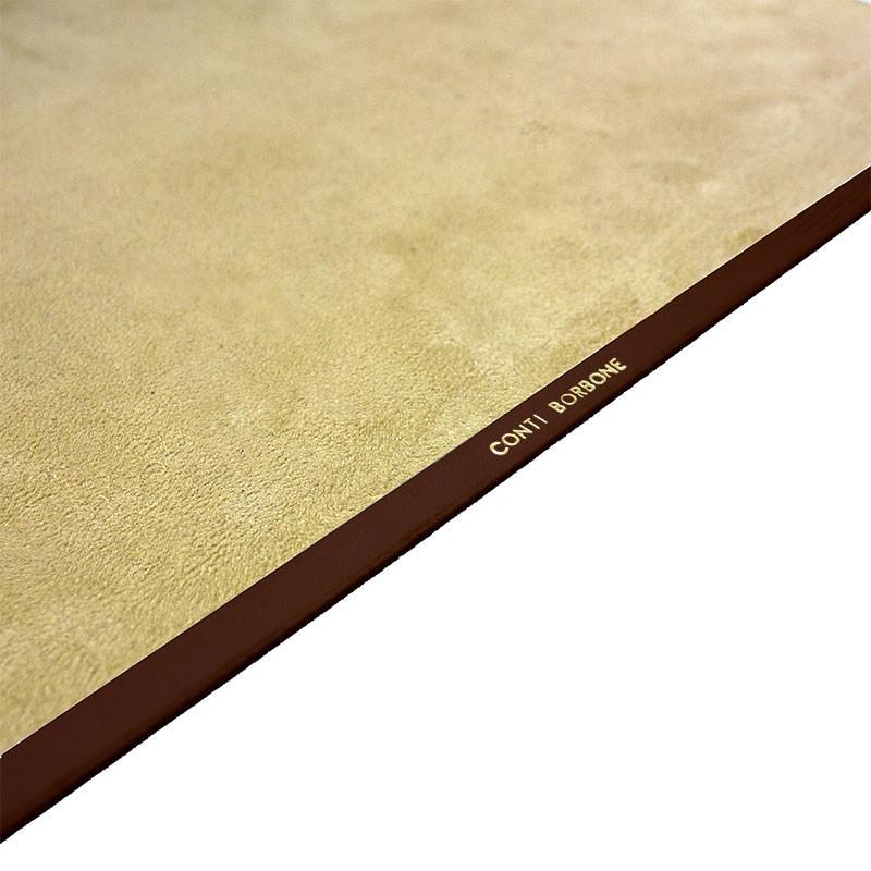 Cuoio leather desk pad, brown calf leather - Conti Borbone - Customizable mat - Brand
