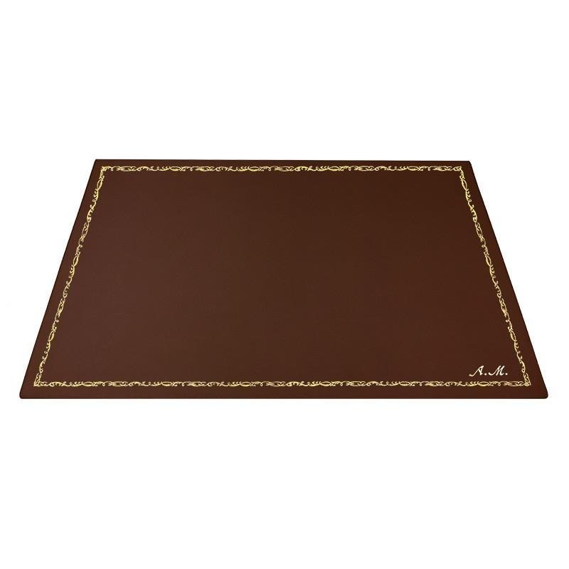 Sottomano pelle Cuoio, pelle di vitello marrone - Conti Borbone - Tappetino personalizzabile - decorazione 106 - corsivo