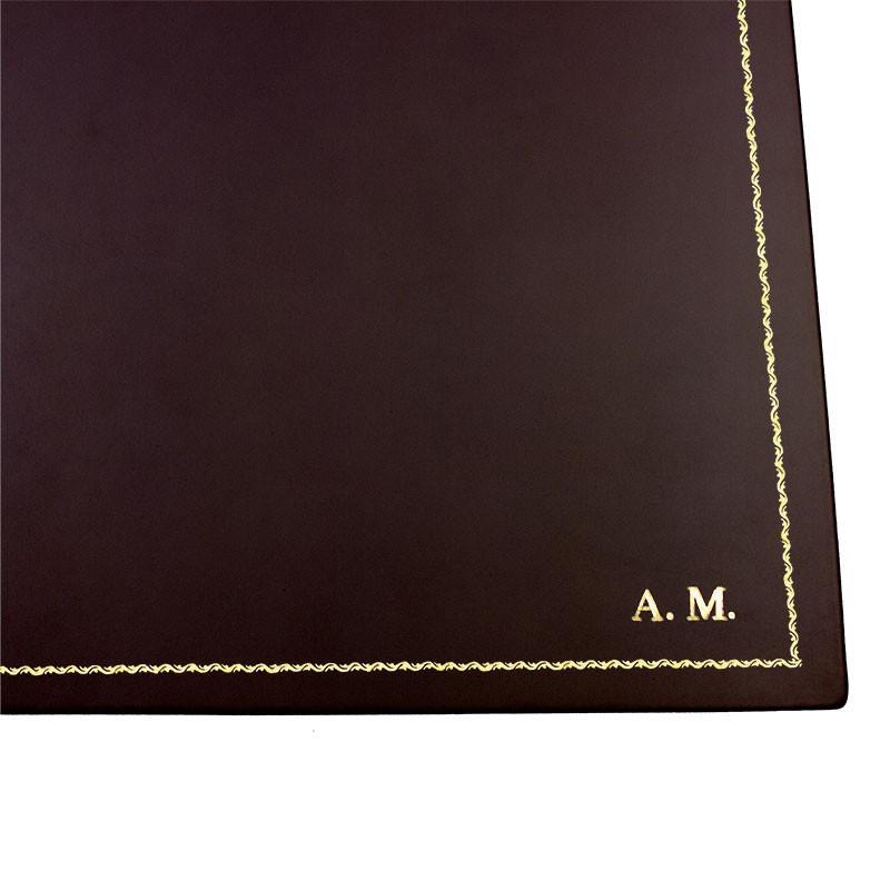 Chocolate leather desk pad, brown calf leather - Conti Borbone - Customizable mat - 90 decoration - block letters