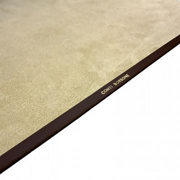 Chocolate leather desk pad, brown calf leather - Conti Borbone - Customizable mat - Brand