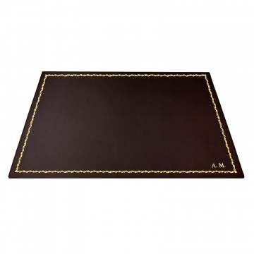 Chocolate leather desk pad, brown calf leather - Conti Borbone - Customizable mat - 90 decoration - block letters