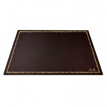 Sottomano pelle Cioccolato, pelle di vitello marrone - Conti Borbone - Tappetino personalizzabile - decorazione 150 - corsivo