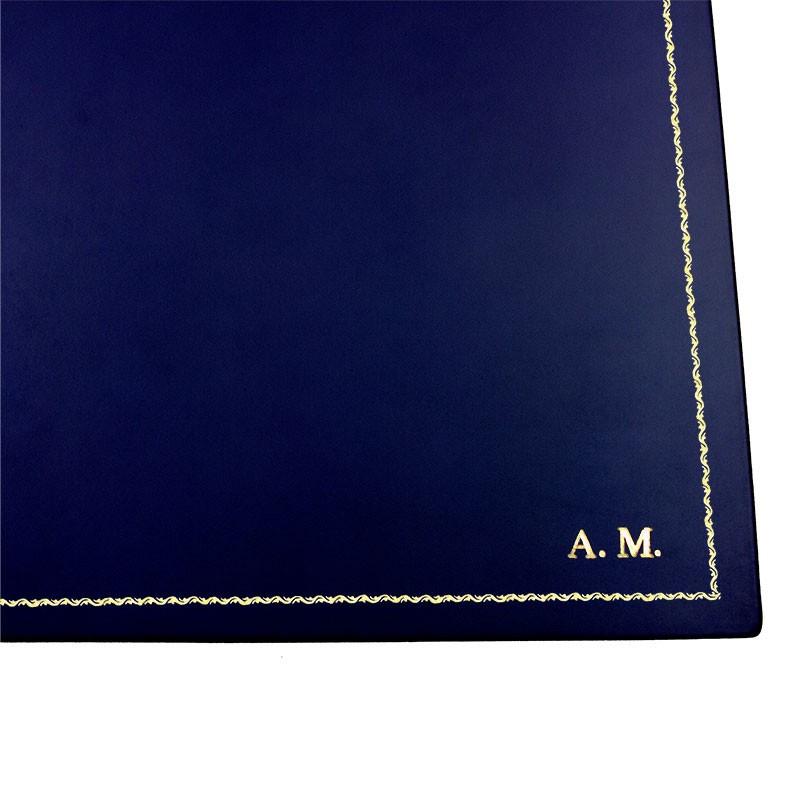 Bluette leather desk pad, blue calf leather - Conti Borbone - Customizable mat - 90 decoration - block letters