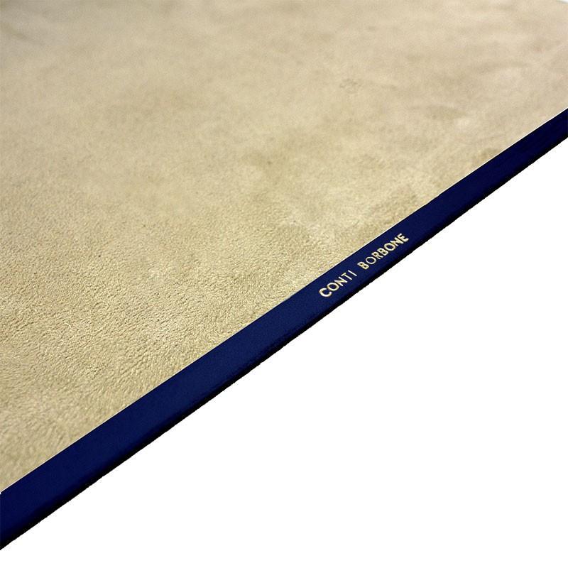 Bluette leather desk pad, blue calf leather - Conti Borbone - Customizable mat - Brand