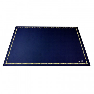 Bluette leather desk pad, blue calf leather - Conti Borbone - Customizable mat - 90 decoration - block letters