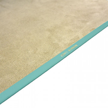 Turquoise leather desk pad, blue calf leather - Conti Borbone - Customizable mat - Brand