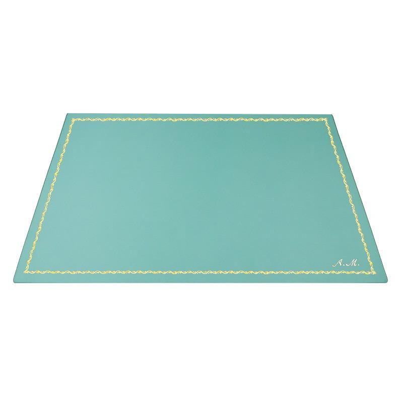 Turquoise leather desk pad, blue calf leather - Conti Borbone - Customizable mat - 90 decoration - italic