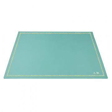 Turquoise leather desk pad, blue calf leather - Conti Borbone - Customizable mat - 133 decoration - block letters
