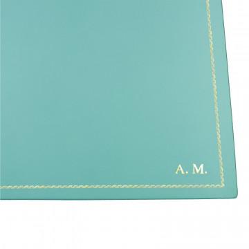 Turquoise leather desk pad, blue calf leather - Conti Borbone - Customizable mat - 133 decoration - block letters
