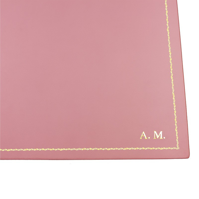 Camelia leather desk pad, pink calf leather - Conti Borbone - Customizable mat - 90 decoration - block letters
