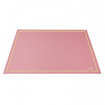 Baby pink leather desk pad, pink calf leather - Conti Borbone - Customizable mat - 90 decoration - block letters