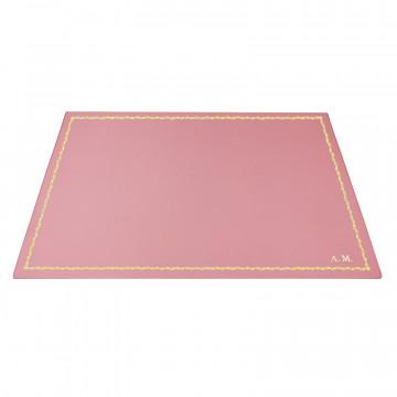 Sottomano pelle Camelia, pelle di vitello rosa - Conti Borbone - Tappetino personalizzabile - decorazione 90 - stampatello
