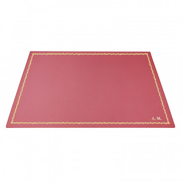 Fuxia leather desk pad, pink calf leather - Conti Borbone - Customizable mat - 90 decoration - block letters