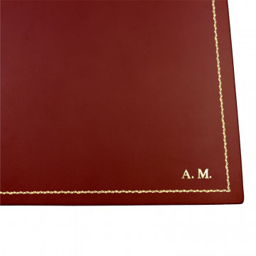 Strawberry leather desk pad, red calf leather - Conti Borbone - Customizable mat - 90 decoration - block letters