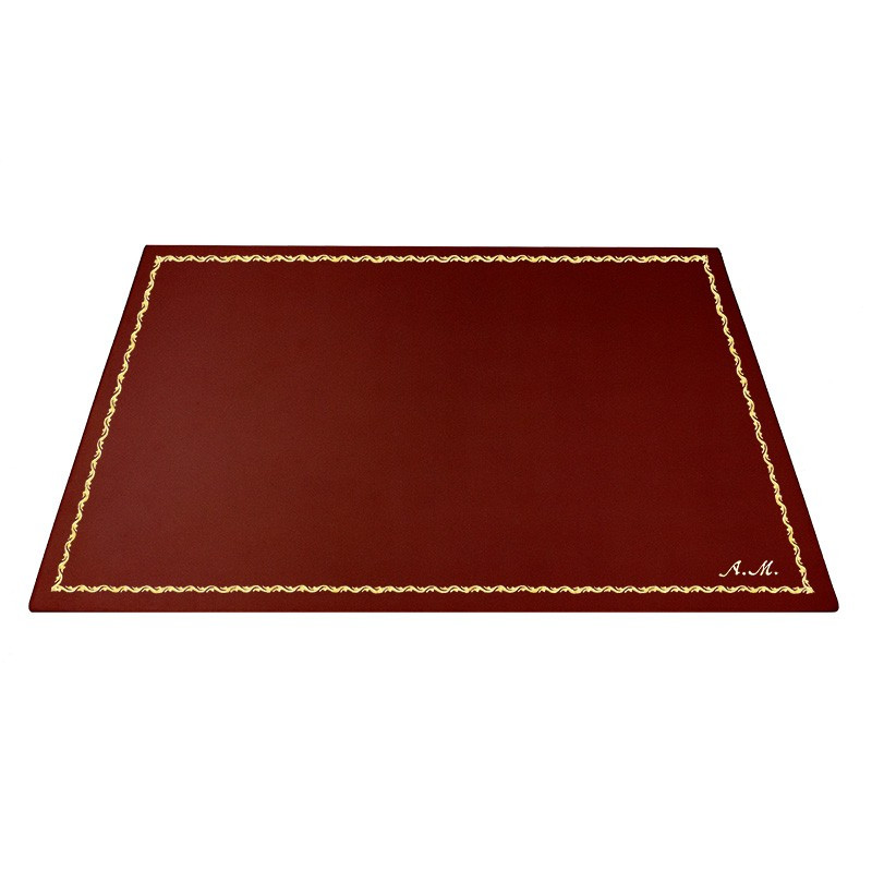 Sottomano pelle Fragola, pelle di vitello rosso - Conti Borbone - Tappetino personalizzabile - decorazione 90 - corsivo
