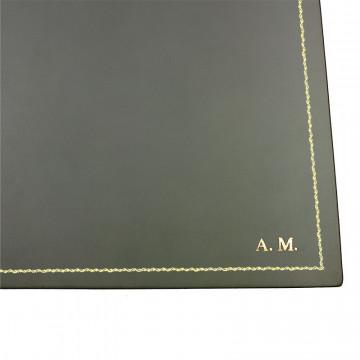 Sottomano pelle Graffite, pelle di vitello grigio - Conti Borbone - Tappetino personalizzabile - decorazione 90 - stampatello