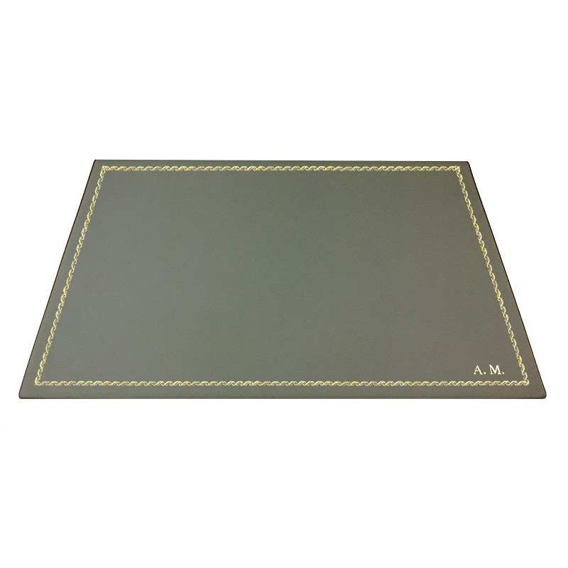 Graphite leather desk pad, gray calf leather - Conti Borbone - Customizable mat - 133 decoration - block letters