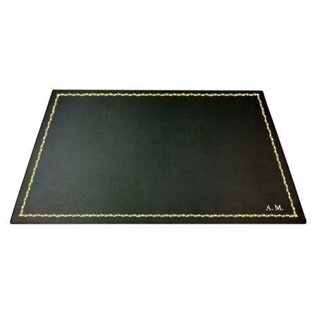 Anthracite leather desk pad, gray calf leather - Conti Borbone - Customizable mat - 90 decoration - block letters
